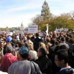 From the middle of the crowd looking toward the Capitol building it was sea of people and placards