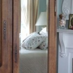 bed reflected in mirror